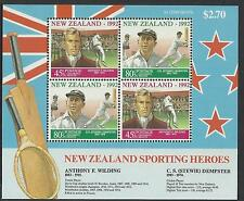 NEW ZEALAND 1992 HEALTH Sporting Heroes CRICKET TENNIS Souvenir Sheet MNH