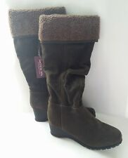 WOMEN HIGH KNEE BOOTS WEDGE WEDGED BROWN FUR ZIP UK SIZE 5 BRAND NEW LABEL F&F