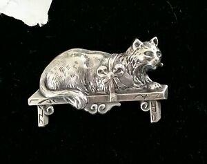 Jugendstil antike bezaubernde Katzen Brosche 925 Sterling Silber