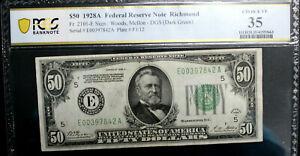 $50 1928-A Federal Reserve Note Richmond E-A Block FR #2101-E PCGS 35 VERY FINE