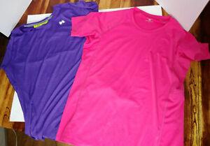 2 Gym / Running Shirts Patagonia Pink & Under Armour Purple Thin Women's Size XL