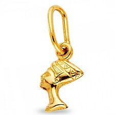 Solid 14k Yellow Gold Queen Nefertiti Pendant Egyptian Beauty Charm Polished