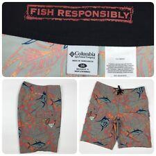 Columbia Men's Fish Responsibly PFG Swim Board Shorts 34 Gray Orange Fishing