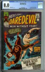 DAREDEVIL #7 CGC 8.0 OW/WH PAGES // DAREDEVIL DONS RED COSTUME 1965
