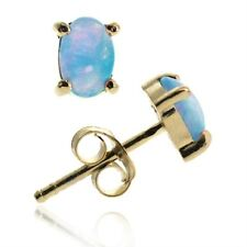 18K Gold over 925 Silver Created Blue Opal 6x4 Oval Stud Earrings