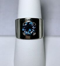 Crystal Ring Adjustable Size 4 to 9 Silver Plate Dark Blue Made With Swarovski
