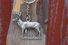 Hastings Pewter Co Lead Free Pewter Deer Keychain white tail wildlife metal NEW
