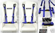 "2 X TANAKA UNIVERSAL BLUE 4 POINT BUCKLE RACING SEAT BELT HARNESS 2"""
