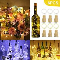 3/6pcs Solar Wine Bottle Cork Shape Lights 10 LED Night Fairy String Lights Lamp