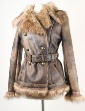 Le Chateau women's coat jacket faux fur trim vegan double breasted brown sz M