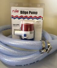 Rule 500gph 12v Bilge pump 2m hose & jubilee clip set Canal boat, yacht, cruiser