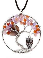 Teenage Girl Gift Ideas Necklace Pendant Handmade Fashion Purple Topaz Owl Tree