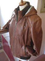 Ladies NEXT brown tan real leather JACKET COAT size UK 18 16 USA 12 biker hood