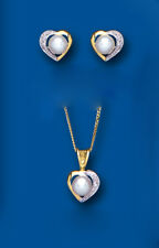 Pearl and Diamond Heart Set Yellow Gold Pendant and Earrings Freshwater Cultured