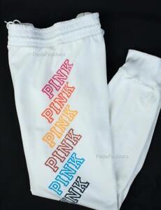 Victoria's Secret PINK Rainbow Logo Gym Stretch Lounge Anorak Fleece Sweat Pants