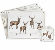 WINTER STAG Christmas 4 Placemats and 4 Coasters Set BROWN Cream