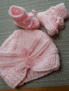 PREMATURE HANDKNITTED  TURBAN HAT & BOOTS PINK WITH PINK FLOWERS  So cute