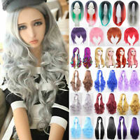 Womens Long Short Wig Straight Curly Wavy Hair Full Wigs Anime Party Cosplay