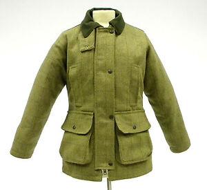 New Ladies Woven Tweed Green Jacket Padded Field Coat 8 10 12 14 16 18 20 22