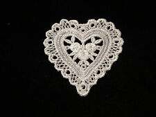 "Venise Lace Heart in White Rayon - Lot of 12 for $6.99 - 2 3/4"" x 2 3/4"""