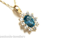 9ct Gold London Blue Topaz Pendant and Chain Gift Boxed Necklace Made in UK Xmas