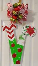 Handpainted  Large Wood Letter  Door Hanger Christmas Poinsettia  ~ANY INITIAL~