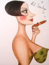 Manufaktur Alek Sander naive Malerei 20er Jahre Akt Charleston Öl Madame Cohiba