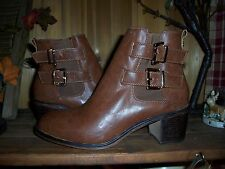 CATO WOMENS ANKLE DRESS BOOT SIZE 11 WITH BUCKEL STRAP AND ZIPPER BROWN STYLISH