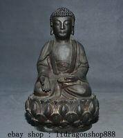 "9.2"" Ancien Chine Bronze doré Bouddhisme Shakyamuni Amitabha Bouddha Statue"