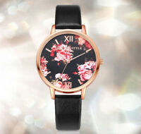 Fashion Women's Leather Band Floral Wrist Watch Ladies Analog Quartz Watches
