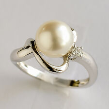 SOUTH SEA PEARL RING CULTURED 8.7mm PEARL  DIAMOND 14K WHITE GOLD. SIZE M1/2 NEW