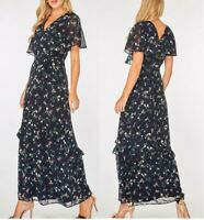 Ladies Dorothy Perkins Maxi Dress Floral Print Ditsy Frill Cape Sleeve Navy Blue