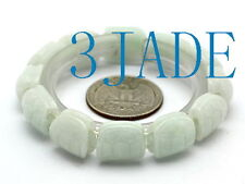 Hand Carved Natural A Grade Jadeite Jade Turtle Shell Shape Beads Bracelet