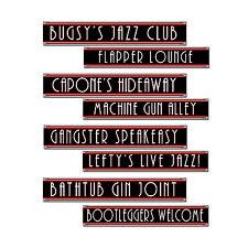 4 pc GANGSTER Jazz Speakeasy Street Signs Cardboard Cutout Birthday Party Decora