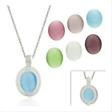925 Silver Cats Eye 7 Stone Interchangeable Oval Pendant Set, 18""