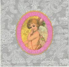 2 Serviettes en papier Cadre Ange Argent - Paper Napkins Angel & Lace silver