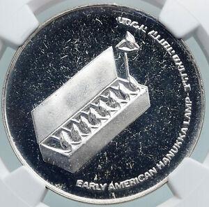 1976 ISRAEL American Menorah HANNUKAH LAMP Proof Silver 10 Lirot Coin NGC i87885