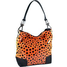 Dasein Women Glossy Faux Leather Handbag Polka Dot Hobo Bag Chain Strap Orange