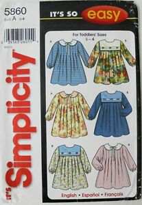 Simplicity 5860 It's So Easy Girls Toddlers Dresses Sewing Pattern Sz 1/2-4