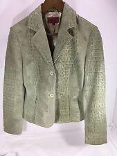 Women's Nicola Berti Croc Embossed Green Leather jacket Sz S EUC