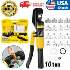 New Listinghydraulic Crimper Crimping Toolw 8 Dies Wire Battery Cable Lug Terminal 10 Ton