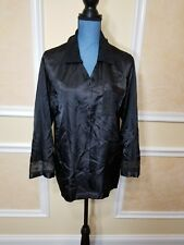SECRET TREASURES Black Button Front Pajama Top Medium