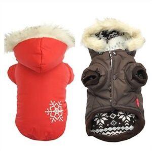 Winter Dog Pet Cat Clothes Warm Hoodie Fur Snowflake Coat Waterproof Costumes