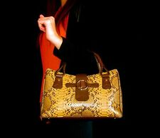 INCREDIBLE JUDITH LEIBER SNAKESKIN LEATHER TOTE LARGE SATCHEL WARM TONES Handbag