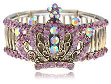 Antique-like Amethyst Crystal Rhinestone Queen Princess Crown Stretch Bracelet