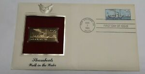 """1989 Steamboats """"Walk in the water""""  1st Day Of Issue 22k Gold Stamp Replica"""