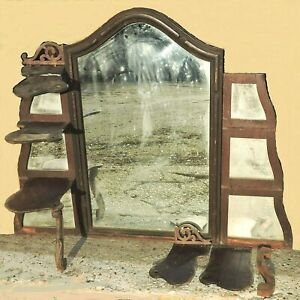 "Part- c1860 Rococo etagere, dresser top, mahogany, central mirror, shelves, 43""w"