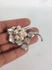 Beautiful vintage retro Japan Sterling silver 925 pearl pin brooch /pendant