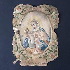 Image Pieuse Brodée XVIIIè Vierge À l'Enfant HOLY CARD 18thC Embroidery Santino
