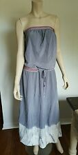 Gypsy 05 100% Silk Maxi Long Dress Boho Hippie Excellent Gray Sz S M